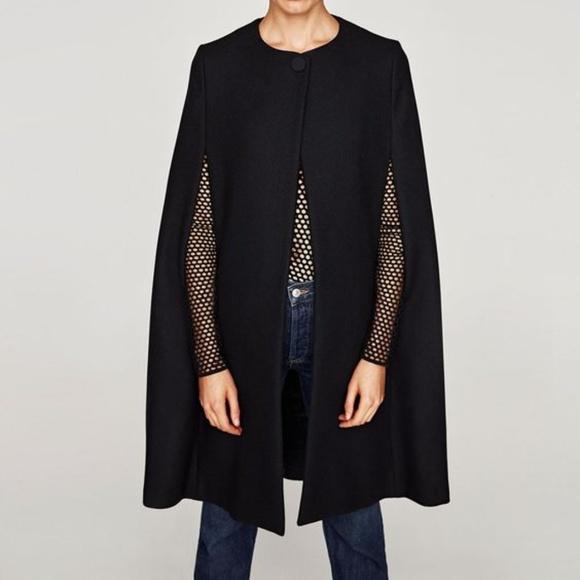 613b7d0f1b9f1 Zara Jackets & Coats | Black Long Cloth Wool Cape Coat Jacket | Poshmark